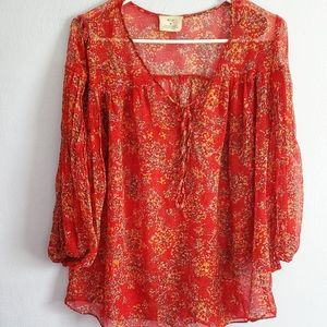 Pins and Needles ANTHRO Red Pattern Sheer Blouse M